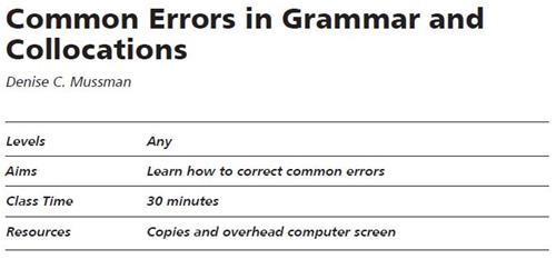 Common Errors in Grammar and Collocations