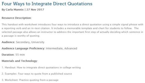 Four Ways to Integrate Direct Quotations