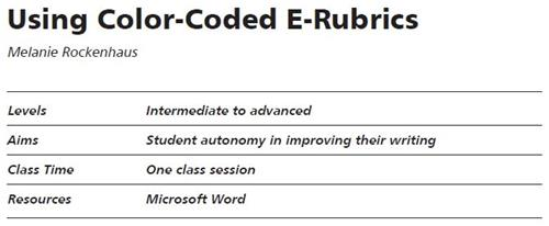 Using Color Coded E Rubrics