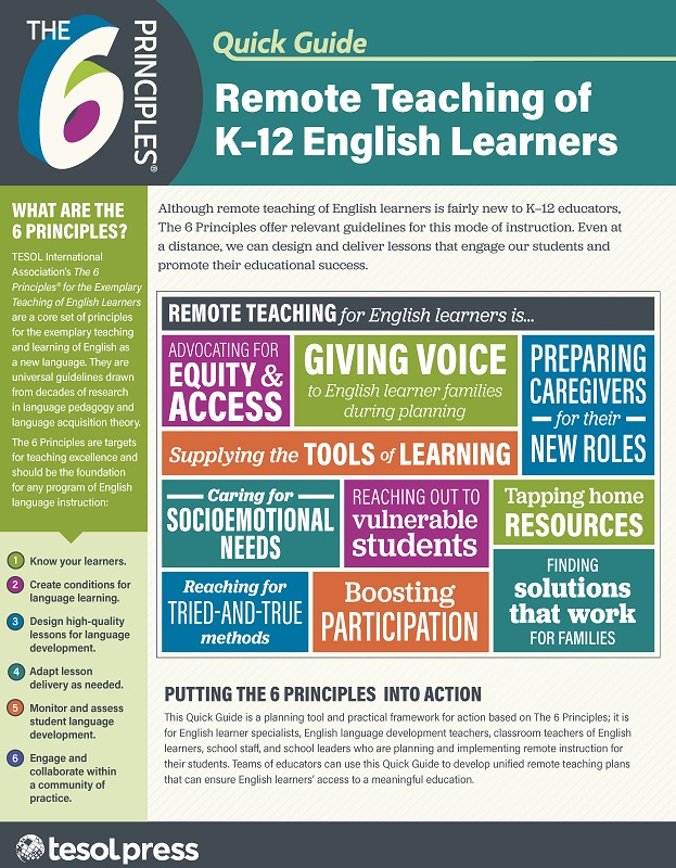 The 6 Principles® Quick Guide: Remote Teaching of K-12 ELs (Paper)