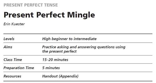 Present Perfect Mingle